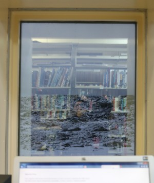 Me in the library, trying to get on the internet while reflected in a window (with books) through which you can see the snow