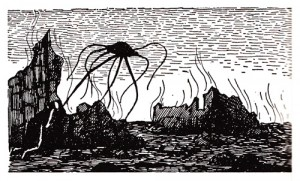 One of Edward Gorey's illustrations to the 1960 edition of The War of the Worlds.